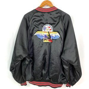 Vtg Satin Embroidered American Welder Bomber Jacke